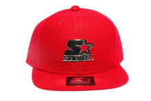 Solid Red with Shiny Gold Metallic Logo STARTER Snapback Hat