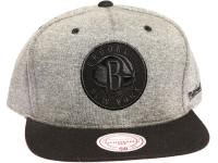 Brooklyn Nets  Black Logo Mitchell & Ness NBA Dark Grey Snapback Hat