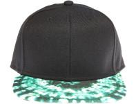 Tie Dye Green Brim Blank Unbranded Black Snapback Hat