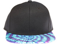 Tie Dye Purple and Teal Brim Blank Unbranded Black Snapback Hat