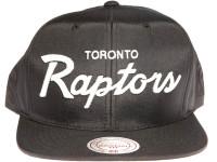 Toronto Raptors Script Nylon Mitchell & Ness NBA Black Snapback Hat