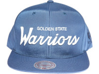 Golden State Warriors Script Nylon Mitchell & Ness NBA Blue Snapback Hat