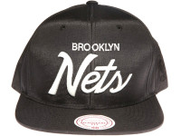 Brooklyn Nets Script Nylon Mitchell & Ness Black Snapback Hat