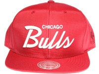 Chicago Bulls Script Nylon Mitchell & Ness Red NBA Red Snapback Hat