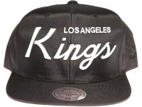 Los Angeles Kings Script Nylon Mitchell & Ness NHL Black Snapback Hat