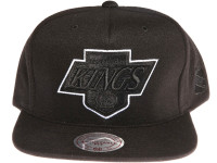 Los Angeles Kings Logo Tracksuit Material Mitchell & Ness NHL Black Snapback Hat