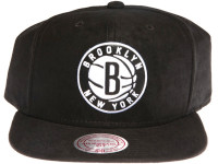 Brooklyn Nets Leather Logo Mitchell & Ness NBA Black Suede Snapback Hat