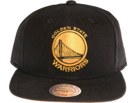 Golden State Warriors Leather Logo Mitchell & Ness NBA Black Suede Snapback Hat