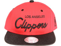 Los Angeles Clippers Script Woven Brim Mitchell & Ness NBA Red Snapback Hat