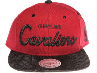 Cleveland Cavalliers Script Woven Brim Mitchell & Ness NBA Maroon Snapback Hat