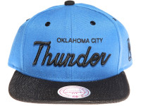 Oklahoma City Thunder Script Woven Brim Mitchell & Ness NBA Blue Snapback Hat