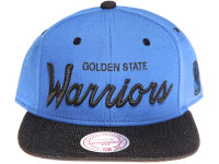 Golden State Warriors Script Woven Brim Mitchell & Ness NBA Blue Snapback Hat