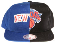 New York Knicks Split Logo Arch Mitchell & Ness NBA Blue and Black Snapback Hat