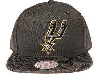 San Antonio Spurs Gloss Gold Logo Woven Brim Mitchell & Ness NBA Black Snapback Hat