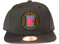 Los Angeles Clippers Gloss Gold Logo Woven Brim Mitchell & Ness NBA Black Snapback Hat