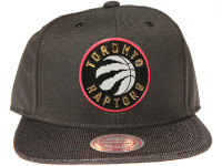 Toronto Raptors Gloss Gold Logo Woven Brim Mitchell & Ness NBA Black Snapback Hat