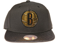 Brooklyn Nets Gloss Gold Logo Woven Brim Mitchell & Ness NBA Black Snapback Hat