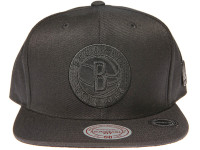 Brooklyn Nets Genuine Leather Logo Mitchell & Ness NBA Black Snapback Hat