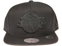Los Angeles Lakers Genuine Leather Logo Mitchell & Ness NBA Black Snapback Hat