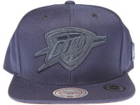 Oklahoma City Thunder Genuine Leather Logo Mitchell & Ness NBA Blue Snapback Hat