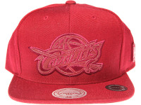 Cleveland Cavalliers Genuine Leather Logo Mitchell & Ness NBA Maroon Snapback Hat