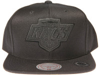 Los Angeles Kings Genuine Leather Logo Mitchell & Ness NHL Black Snapback Hat