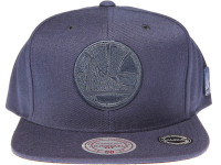 Golden State Warriors Genuine Leather Logo Mitchell & Ness NBA Blue Snapback Hat