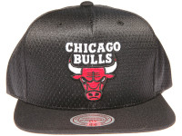 Chicago Bulls Logo Mitchell & Ness NBA Black Mesh Snapback Hat