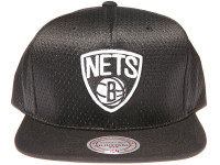 Brooklyn Nets Logo Mitchell & Ness NBA Black Mesh Snapback Hat