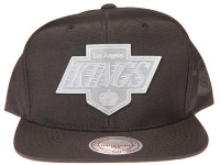 Los Angeles Kings Clear Logo Mitchell & Ness Black Nylon NHL Snapback Hat
