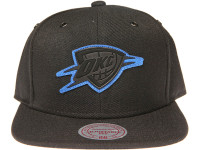 Oklahoma City Thunder Blue Outline Logo Mitchell & Ness NBA Black Snapback Hat