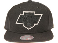 Los Angeles Kings Grey Outline Logo Mitchell & Ness Black NHL Snapback Hat