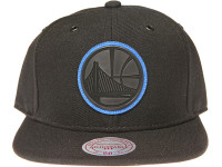 Golden State Warriors Blue Outline Logo Mitchell & Ness NBA Black Snapback Hat