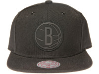 Brooklyn Nets Black Outline Logo Mitchell & Ness NBA Black Snapback Hat