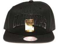Los Angeles Clippers Gold Badge Mitchell & Ness NBA Black Snapback Hat