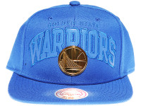 Golden State Warriors Gold Badge Logo Mitchell & Ness NBA Blue Snapback Hat