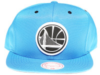 Golden State Warriors White Canvas Stitch Logo Mitchell & Ness NBA Blue Snapback Hat