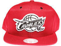 Cleveland Cavaliers White Canvas Stitch Logo Mitchell & Ness NBA Maroon Snapback Hat