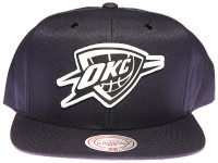 Oklahoma City Thunder White Canvas Stitch Logo Mitchell & Ness NBA Dark Blue Snapback Hat