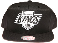 Los Angeles Kings White Canvas Stitch Logo Mitchell & Ness NHL Black Snapback Hat