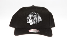 Blackhawks Black Flex-Fit Mitchell & Ness NBA Snapback Hat