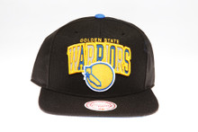 Golden State Warriors Reflective Script Logo Arch Mitchell & Ness Black Snapback Hat