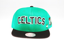 Boston Celtics Block Script Two-Tone Arch Mitchell & Ness Snapback Hat