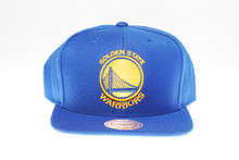 Golden State Warriors Solid Blue Gold Logo  Arch Mitchell & Ness Snapback Hat