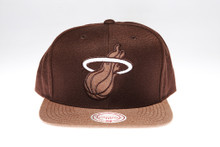 Miami Heat Brown Two-Tone Arch Mitchell & Ness Snapback Hat