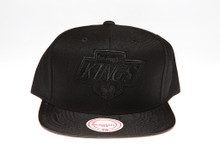 LA Kings Blackout Leather Logo Mitchell & Ness Snapback Hat