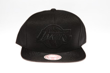 LA Lakers Blackout Suede Logo Mitchell & Ness Snapback Hat