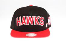Hawks Block Script Arch Mitchell & Ness Snapback Hat