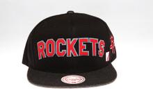 Rockets Block Script Arch Mitchell & Ness Snapback Hat