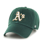 Oakland Athletics 47Brand Green White Logo MLB Strapback Clean Up Hat